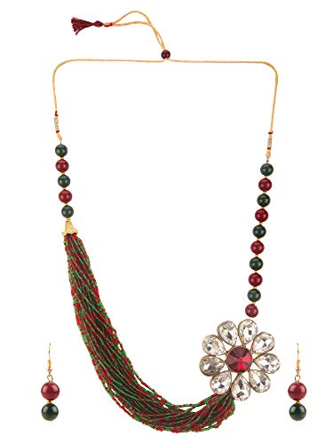 Efulgenz Fashion Chunky Multi Layered Faux Pearl Crystal Floral Statement Necklace Earrings Costume Jewelry Set
