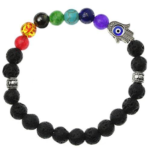 Handmade 7 Chakra Hamsa Hand Healing Natural Lava Charm Bracelet Religious Mala Meditation Beads Strand Aromatherapy Diffuser ()