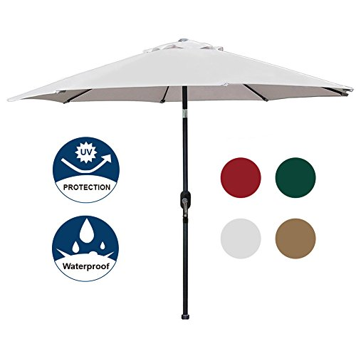 Blissun 9′ Patio Umbrella Aluminum Manual Push Button Tilt and Crank Garden Parasol, 8 Ribs (Grey) For Sale