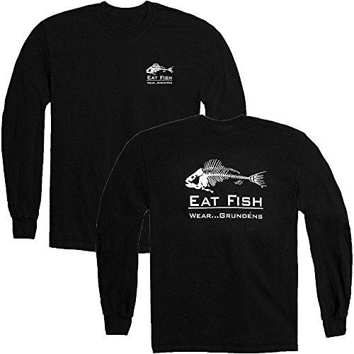 Grunden's Men's Eat Fish Long Sleeve T-Shirt, Black, - Eat T-shirt Fish