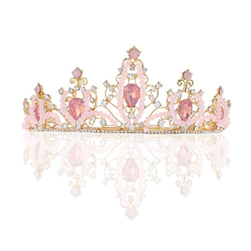 (Unicra Wedding Queen Pink Crystal Crowns and Tiaras Wedding Bridal Headpiece Hair Accessories for)