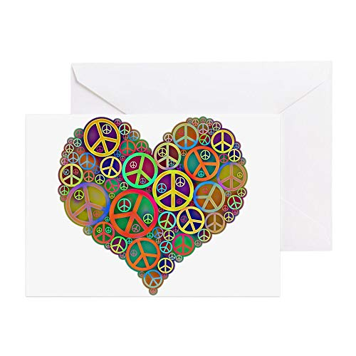 CafePress Cool Peace Sign Heart Greeting Card (20-pack), Note Card with Blank Inside, Birthday Card -