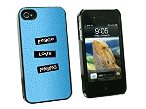 Peace Love Penguins - Snap On Hard Protective Case for Apple iPhone 4 4S - Black by ruishername