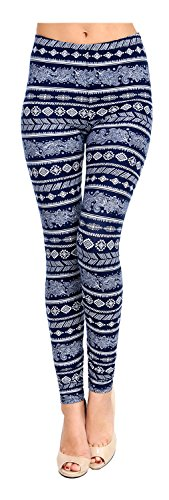 Plus Size Printed Leggings (Waves of Paisley) by VIV Collection