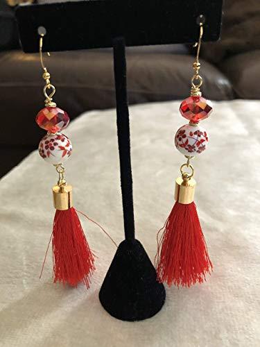 Red Orange Porcelain Flower Tassel Earrings