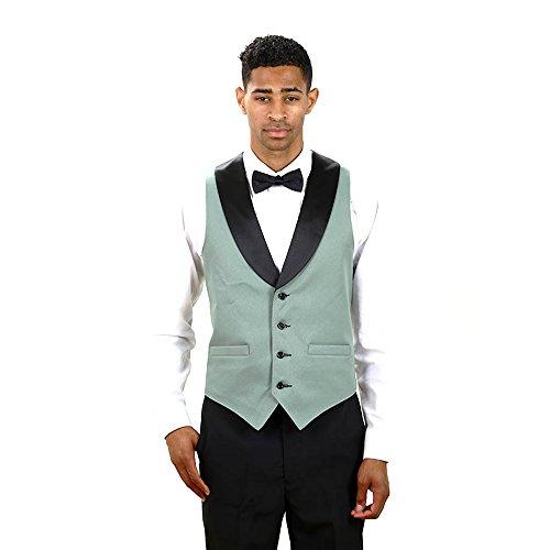 Black Full Back Tuxedo Vest (Men's Sage Full Back Tuxedo Vest with Black Lapel Medium)