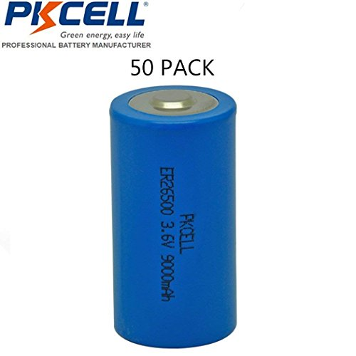 C Size 26500 ER26500 3.6V 9000mAh Li-SOCl2 Battery (50pcs) by PK Cell (Image #1)