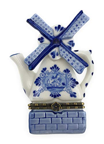 Porcelain Holland Windmill Hinged Lid Trinket Box with Tiny Trinket Inside, By ArtGifts, 4