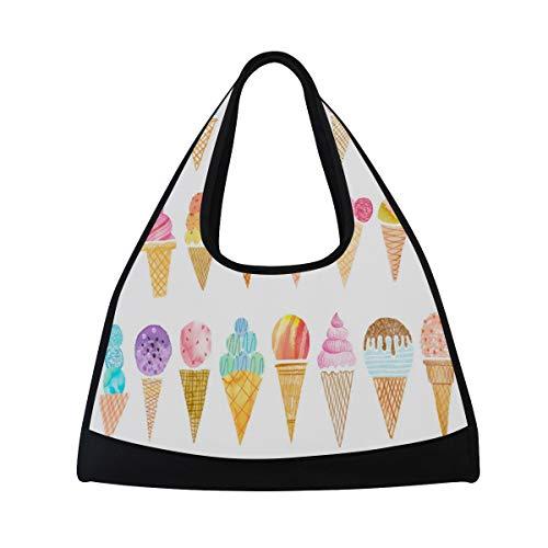 Yoga Bag Watercolor Ice-Cream Mens Camp Duffel Bags Crossbody Shoulder Gym Travel Bag]()