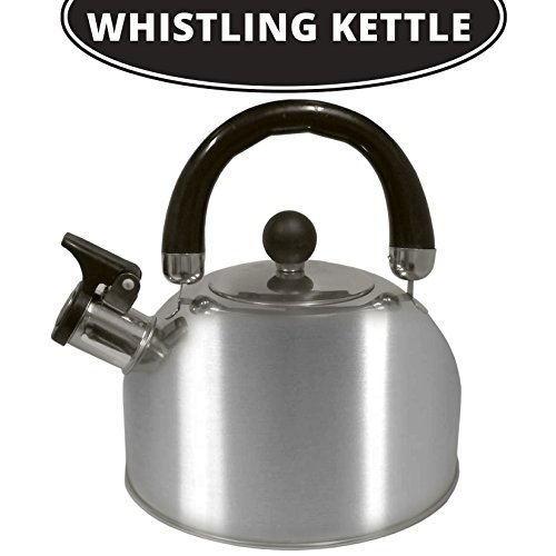 Stovetop Whistling Coffee And Tea Kettle 2.5 L- Durable & Rust Proof Stainless Steel Design - Teapot For Coffee Boling Water, Tea & More - Stay-Cool Handle