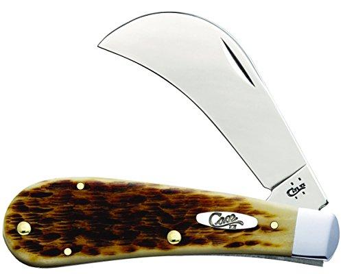Case Amber Bone SS Hawkbill Pruner Pocket Knife