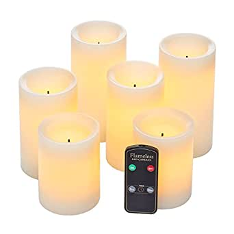 Real Wax Flameless Candle Set w/Dual Timer Feature and Remote Control - Duracell Batteries Included - Set of 6