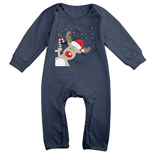 Iridescent Winter Costumes (NOXIDN SMWI Baby Infant Romper Elk Long Sleeve Jumpsuit Costume Navy 12 Months)