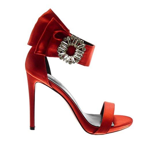 Sandale Rouge Cheville Haut Chaussure Aiguille Diamant Femme Volants Angkorly Talon à Stiletto Bijoux 11 Mode Escarpin Strass Lanière cm f164Eq