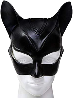 Mesky Máscara de Catwoman Mask Disfraz para Mujeres Traje para Carnaval Fiestas Media Cara Antifaz con Orejas de Gato Látex