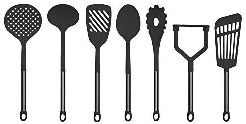 Country Kitchen 7 Piece Black Nylon Cooking Utensil Set with Gun Metal Stainless Steel Handles