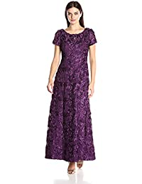 Women's Long A-Line Rosette Dress With Short Sleeves and Sequin Detail