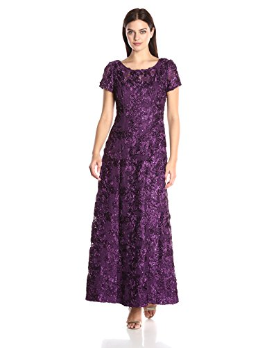 Alex Evenings Women's 10 Long A-line Rosette Dress with Short Sleeves Sequin Detail, Eggplant, 10