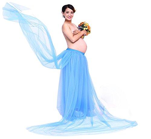 Hopeverl Maternity Photography Props Long Skirt for Pregnancy Shoot (Blue)