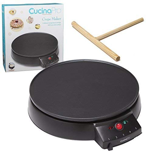 Crepe Maker and NonStick 12quot Griddle Electric Crepe Pan with Spreader and Recipes Included Also use for Blintzes Eggs Pancakes and More