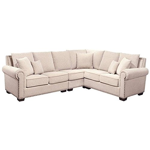 Abbyson Living Sutter CI-D150-CRM Stationary Fabric Sectional Sofa with Left Arm Facing Loveseat Corner 2 Seater and Right Arm Facing Loveseat in