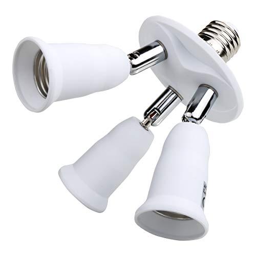 Toplimit 3 in 1 Light Bulb sockets Adapter, Medium Base E26 & E27 to E26 & E27,Lampholder Universal Head 360 Degrees Adjustable Splitter White (3 Port)