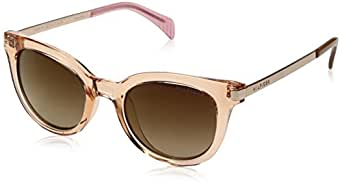 Tommy Hilfiger Women's Lad211 66396855 Cateye Sunglasses, Peach Brown Pink/Brown with Gold Flash, 48 mm