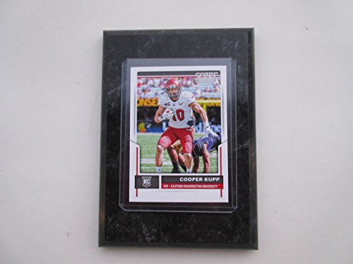 """Cooper Kupp East Wasington Eagles 2017 Panini 2017 NFL rookie score card mounted on a 4"""" x 6"""" black marble plaque"""