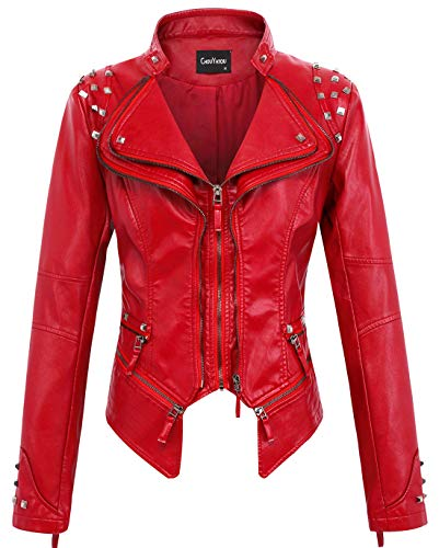chouyatou Women's Fashion Studded Perfectly Shaping Faux Leather Biker Jacket (Large, Red)