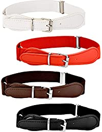 4 Pieces Kids Adjustable Elastic Belt with Leather Closure for Girls and Boys, Assorted Color