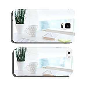 Office table with notepad, computer, flower and coffee cup cell phone cover case iPhone6