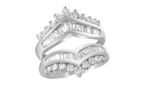 Jewel Zone US Round & Baguette White Natural Diamond Solitaire Enhancer Guard Ring in 14k Solid White Gold (1.25 Ct)