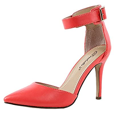 Breckelle's Womens Ankle Strap Pointy Toe Heels