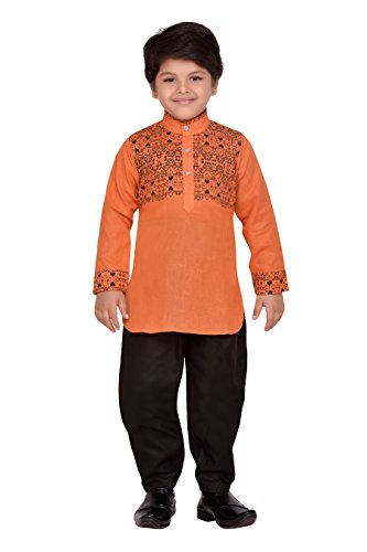 AJ Dezines Kids Indian wear Bollywood Style Pathani Suit for Boys (708-ORANGE-5) by AJ Dezines