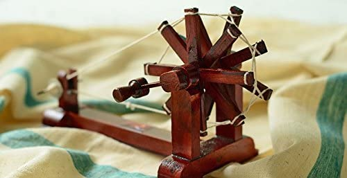 PLANET 007 Wooden Charkha Gandhi Charkha Spinning Wheel Home Decor Handicraft Brown Colour