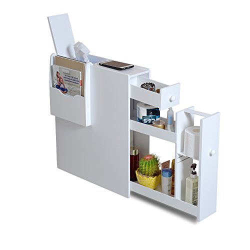 Organizedlife White Bathroom Floor Cabinet Storage with Drawer and Magazine (Bathroom Floors)