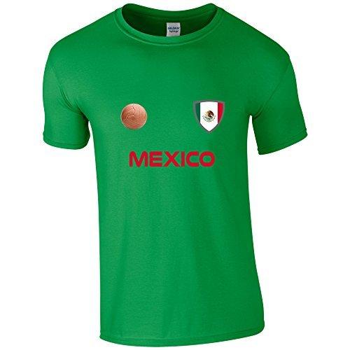 EBUK México Copa del Mundo 2018 Fútbol Retro Informales Camiseta Hombre No Oficial - Verde,
