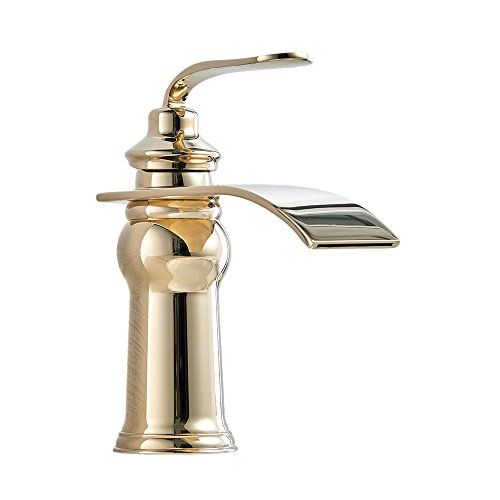 OWOFAN Brass Waterfall Bathroom Basin Sink Vessel Faucet Lavatory Mixer Tap Extra Large Rectangular Spout Water Spout, Gold (Gold Vessel Lavatory Spouts)