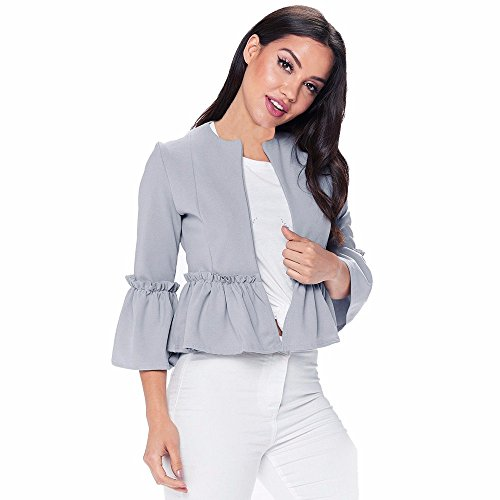 Pengy Women Girl Ruffle Frill Long Sleeve Open Front Coat Blazer Peplum Jacket(Fulfilled by Amazon)(M, - Gray And White Flak Oakley Jacket