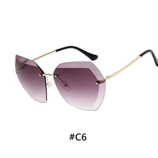 Yangjing-hl Gafas de Sol sin Montura Vintage Gafas de Sol de Gran ...
