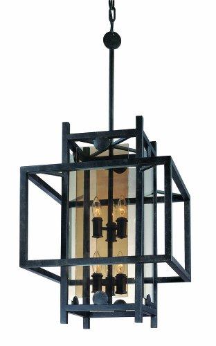 Eight Light French Iron Framed Glass Foyer Hall (Crosby Framed)