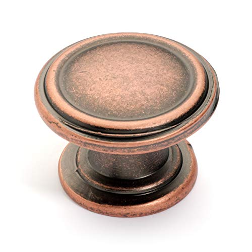 (Dynasty Hardware K-8038-S-AC-10PK, 2- Ring Cabinet Hardware Knob, Antique Copper, (10-Pack) Value Pack)