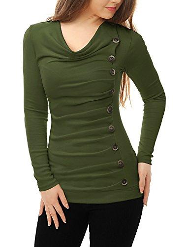 Allegra K Women's Cowl Neck Long Sleeves
