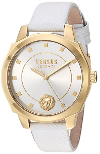 Versus by Versace Women's 'New Chelsea' Quartz Gold-Tone and Leather Watch, Color:White (Model: VSP510218)