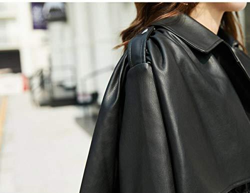 Negro Salvaje de Otoño Chaqueta Soporte la Femenina Motocicleta Delgado de Chaqueta de sección SED Ropa Collar XL la PU Delgado Corta UxtvqnwdH