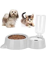 Dispensador automático de agua para mascotas, gran capacidad 2 en 1 Alimentador automático de bebederos para gatos Suministro de dispensador de alimentos para mascotas para perros y gatos(gris)