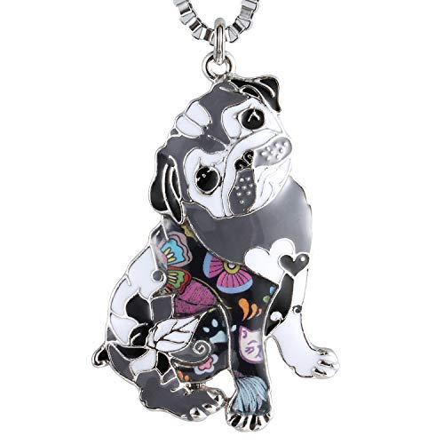 Luckeyui Cute Pug Necklace for Women Dog Lover Multicolor Enamel Pets Dog Charm Pendant