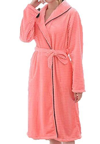 Vestido Manga La Para Invierno Color Larga Pijama Ropa Cálido De Casa Engrosamiento Pink Sólido Cardigan Albornoz Mujer Bata Servicio AARqHx