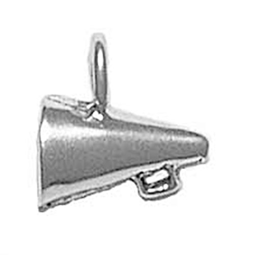 925 Sterling Silver Megaphone - 925 Sterling Silver Megaphone, Large Cheer Shout Speak Announce Charm For Bracelet/Necklace