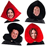 Tigerdoe Playing Cards Costume Hats - Poker Party Hats - Queen of Hearts - Novelty Hats - Deck of Cards Costume - 4 Pack Black